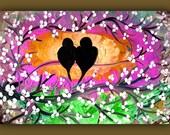 Bird Painting, on Canvas 36x24, Flower Painting, Love Bird Painting, Bird Art, Bird Painting Wall Art, Colorful Bird Painting