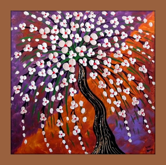 Reserved for marywhite flowers orange and purple abstract for Orange and purple walls