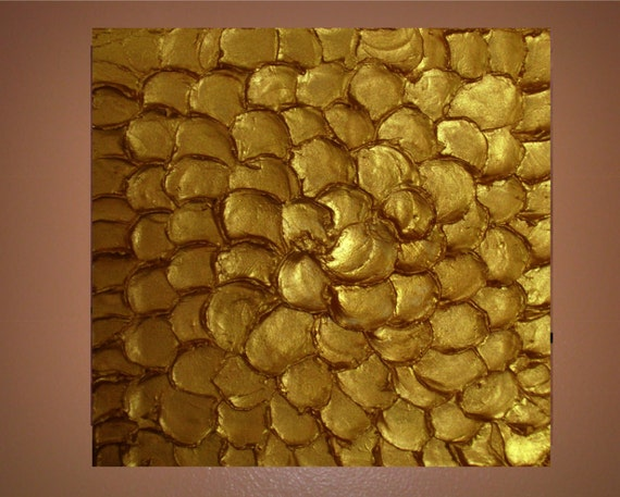 Textured Original Painting on Canvas 24x24 Modern Wall Art, Painting Home Decor Pure Gold, Made to Order