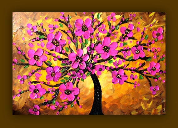 Pink flower painting pink tree painting textured original for Texture painting ideas canvas