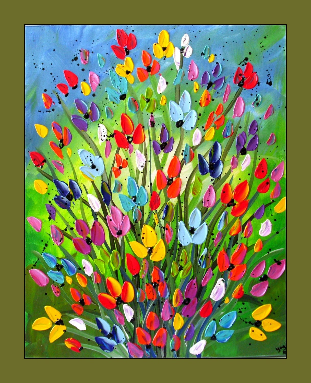 Colorful flower painting textured flower painting on canvas for Flower paintings on canvas