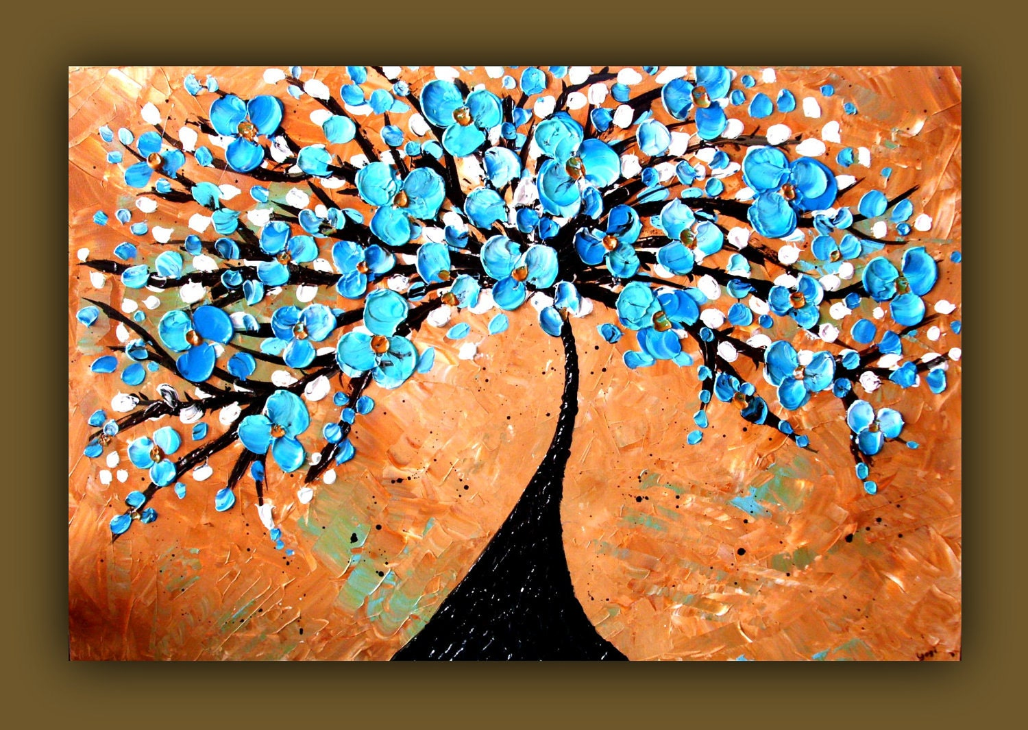 On sale blue tree painting blue flower painting textured tan for Blue paintings on canvas