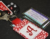4x4 Quilted Monogrammed KeyChain In the Hoop Machine Embroidery