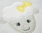 Girl Sheep Barnyard Applique - 4 sizes