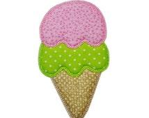 Double Scoop Ice Cream Cone Applique