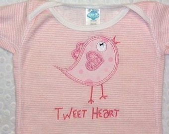 Exclusive Tweet Heart Bird Applique Machine Embroidery 3 sizes