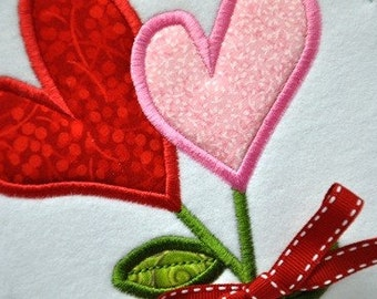 Heart Flower Applique in 4 sizes