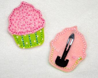 Fun Felts Cupcake Barette Snap Clip Covers