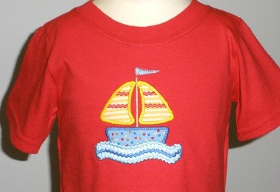Ric Rac Sailboat Applique - Machine Embroidery