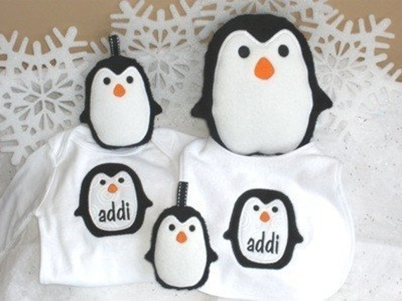 Penguin Stuffed Toy and Applique Set Machine Embroidery