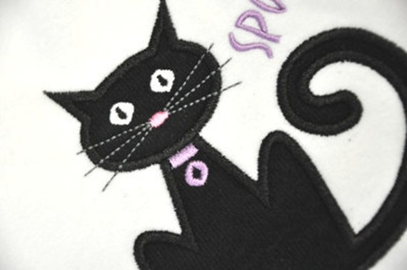 Spooky Halloween Cat Applique - Machine Embroidery 4 sizes