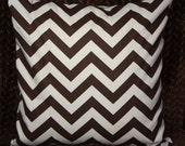 FREE U.S. SHIPPING One 24x24 inch Designer Pillow Cover  - Brown and Natural Chevron Zig-Zag. Pillow Cover, Pillow Case, Cushion Cover.,