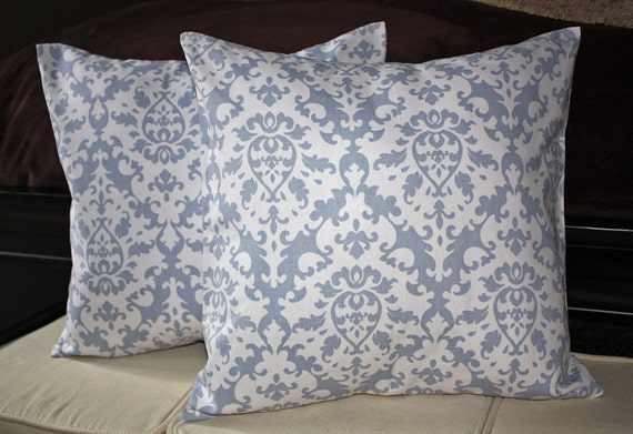 FREE SHIPPING Set of Two 18x18 inch Designer Pillow Covers - Damask Print Light Denim Blue and White. Pillow Case, Cushion Cover, Pillow Cover