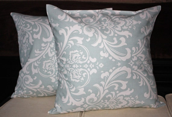 FREE SHIPPING Set of Two 18x18 inch Pillow Covers - Robin's Egg Blue and White Damask. Pillow covers, Pillow cases, Pillow shams.