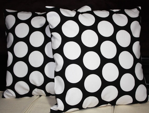 FREE U.S. SHIPPING Set of Two 18x18 inch Designer Pillow Covers - Contemporary Funky Black and White Polka Dots.