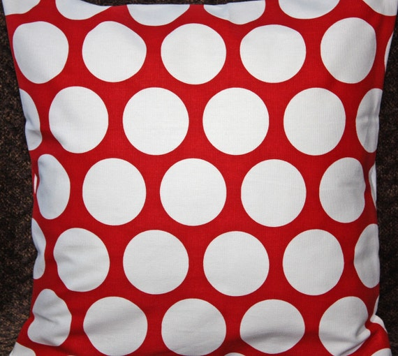 FREE SHIPPING Two 26x26 inch Designer Pillow Cover - Contemporary Lipstick Red and White Polka Dots.