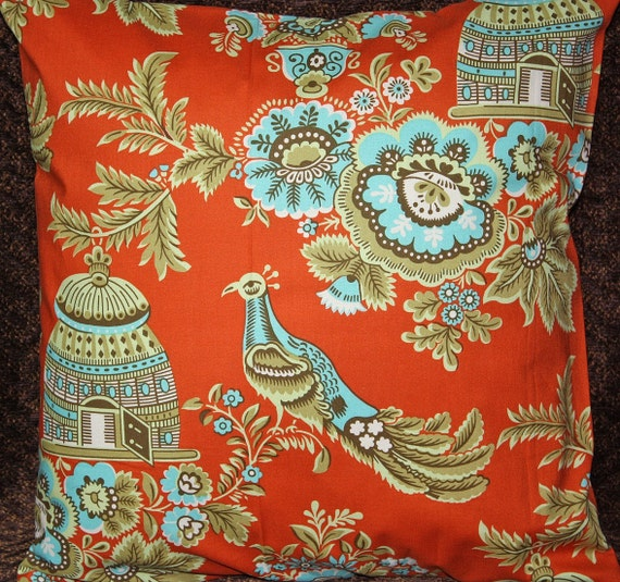 READY TO SHIP  - Free U.S. Shipping - Set of (2) 20x20 inch Pillow Covers - By Amy Butler, Belle Collection - Royal Garden in Clay.