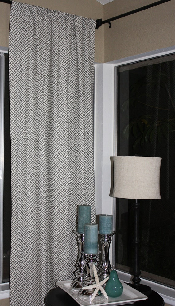 FREE U.S. SHIPPING - Set of Two 50x84 inch Unlined Designer Rod Pocket Drapery Panels. Waverly Cross Section in Charcoal.