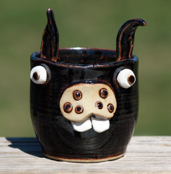 Funny Bunny Cup, Black. Stoneware Tumbler