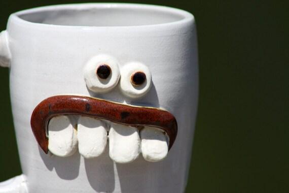 Funny Face Mug, Coffee Mug, White