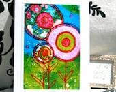 Art Print Mixed Media Blank Card by artist Renee Mak  Jills Flowers