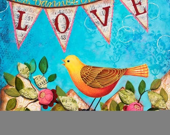 Banner of Love 8x10 Scripture Mixed-Media Art Print