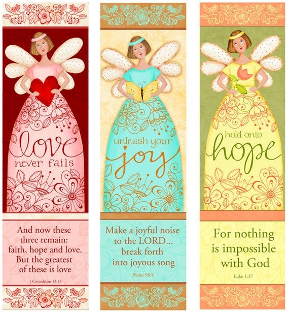 Angelic Trio - Love - Hope- Joy - Bible Bookmarks Digital Download Printable Clip Art and Crafting KD128