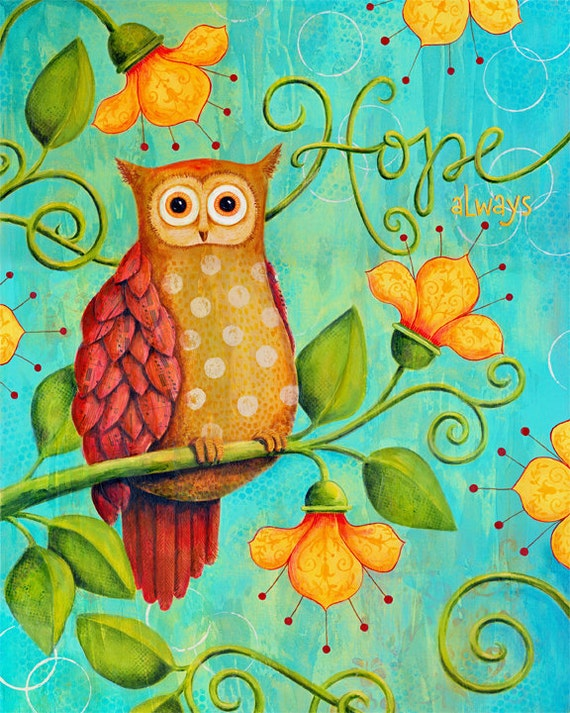 Hope Always Owl 8x10 Inspirational Mixed-Media Art Print