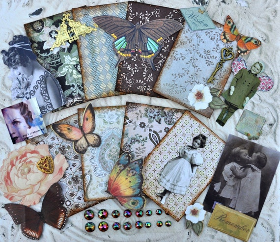 ATC DECORATIVE MATBOARD Collage Set altered art aceo lot assemblage destash images embellishments butterfly