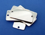 Metal Rectangle Sterling Silver Blanks Tags Hand Stamping Blank Pendant Bracelet Silver Connector Rounded Corners 2 Holes 1-inch x 1/2-inch
