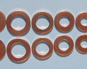 Blank Disc and Washer Copper Variety Pack  Circle STAMPING 3/4 .72 5/8 .6 1/2 3/8 INCH, 18mm 16mm 15mm 13mm Copper Jewelry Making Supplies