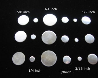 Sterling Silver Stamping Blanks Discs 18 Piece Variety Pack CIRCLE 3/4 5/8 1/2 3/8 1/4 3/16 inch 24 ga 22 Gauge Solid Sterling Silver Rounds
