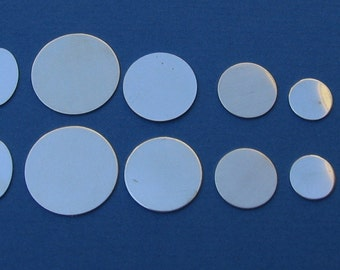 19 Piece Multi Variety Pack CIRCLE Discs and OVALS, 3/4 inch, 5/8, 1/2, 3/8, 1/4, 3/16 inch, 22 gauge, 24g Sterling Silver Hand Stamping