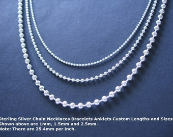 24 inch Sterling Silver Bead Chain Necklace with 1.5mm Ball Chain Shiny or Oxidized Patina