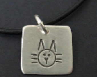 Square Pendant Kitty Cat Tag Hand Stamped Sterling Silver Charm ID Tag Pendant for Necklace Bracelet