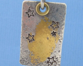 Southern Cross Constellation Sterling Silver Star Pendant with 24k Gold, Brass or 14K Solid Gold Rivet for Necklace Artisan Organic Texture