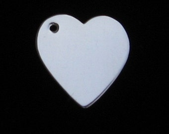 Sterling Silver HEART Blanks with HOLE Jewlery Making Supply 5/8 inch 16.5mm Hand STAMPING pendant earring charm Fine Jewelry Quality Qty 4