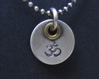 Unique Jewel Hand Stamped Hindu Buddhist Om Aum Symbol on Sterling Silver Charm with handmade Rivet