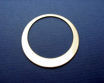 Sterling Silver Open Circle Washer Disc for Earrings ASYMMETRIC TAPER 1-1/4 inch 22ga Quality Jewelry Qty 2
