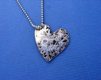 Handmade Sterling Silver Heart Pendant with Artisan Organic Texture Pendant Custom Jewelry