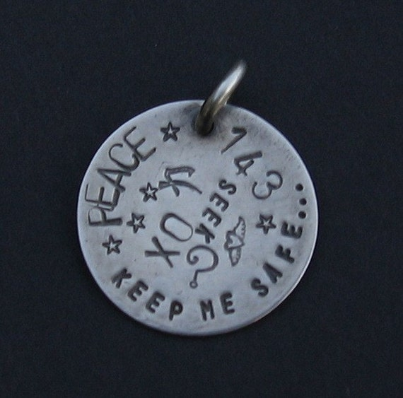 Custom Personalized Sterling Silver Pendant Hand Stamped Initial, Letter, Word, Symbol ID Tag Charm
