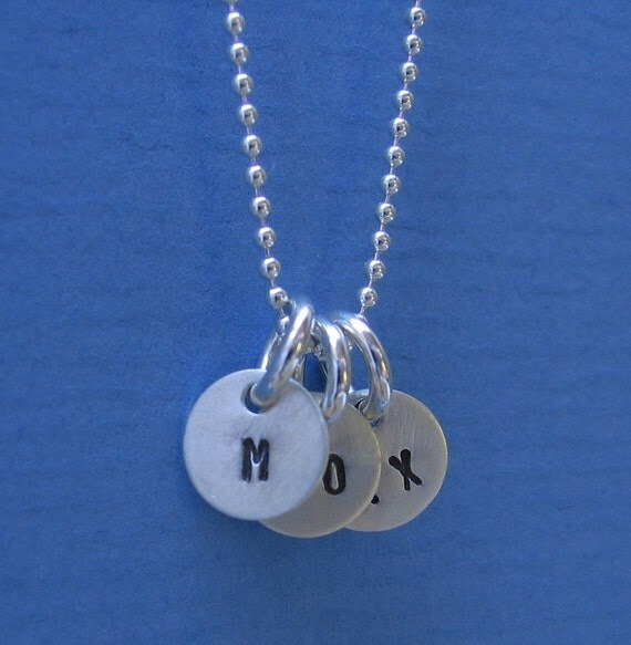 Tiny 1/4 inch Personalized Sterling Silver Hand Stamped Letter Initial ID Tag Round Circle Charm YOU GET 3 Charms
