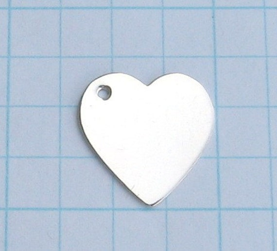 Sterling Silver Blank HEARTS Hand STAMPING Discs Metal Jewlery Making Supply Tags for Personalized Pendant Necklaces Charm Bracelet Earrings