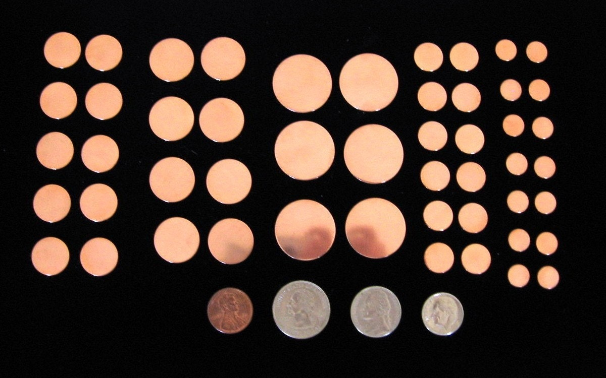Copper Metal Disc Blanks VARIETY PACK 22 Gauge Round