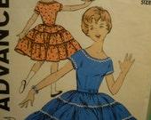 Vintage 1950's Advance Girls Full Tiered Twirl Dress