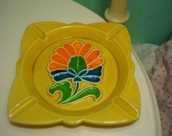 Vintage Yellow Flower Ashtray