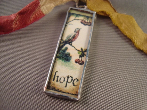 HOPE AND SING  - Soldered Glass Pendant or Charm