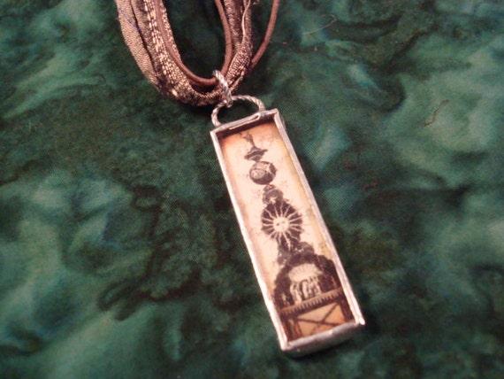 VINTAGE ART - Soldered Glass Necklace