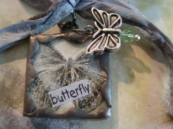 Soldered Glass Pendant or Charm, BUTTERFLY