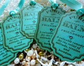 Girly Aqua Balm of Friendship Spa Vintage Style Gift Tags Labels Crystals Set of Five
